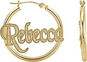 Personalized Textured Hoop Earrings 25mm (0.98