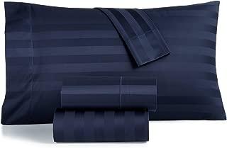 Charter Club Damask Stripe 550 TC Supima Cotton 4 Piece Queen Sheet Set Navy