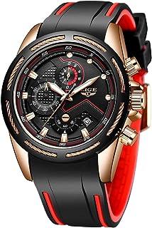LIGE Montres Hommes Mode Élégant Analogique Quartz Chronographe Étanche Silicone Homme Montre Bracelet Sport Grand Cadran ...
