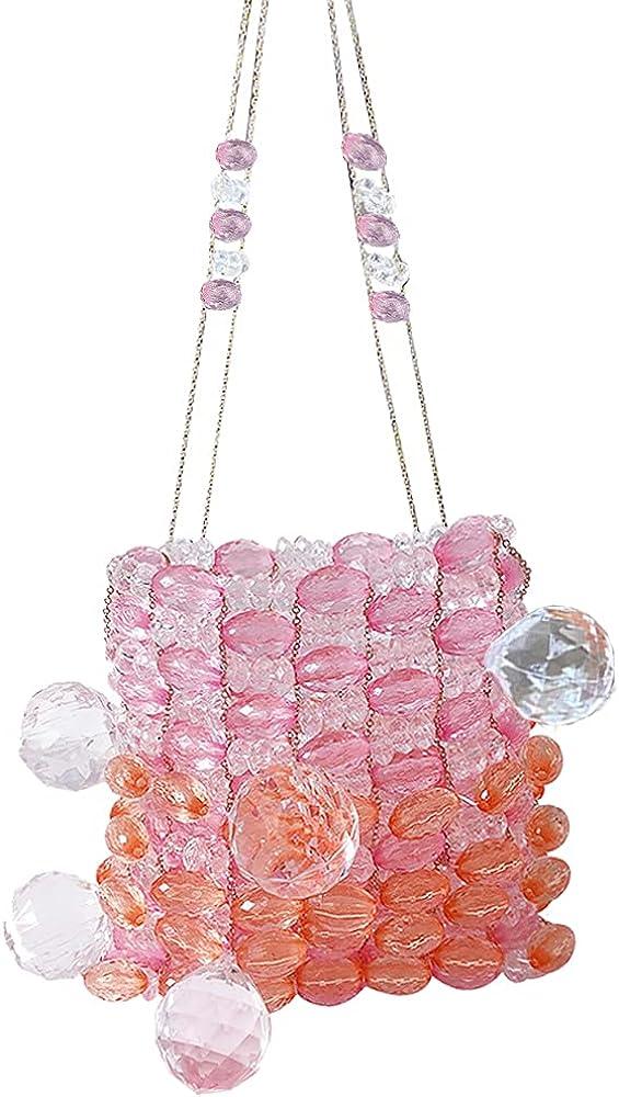 Womens Beaded Handbags Vintage transparent crystal chain crossbody Mini Bag