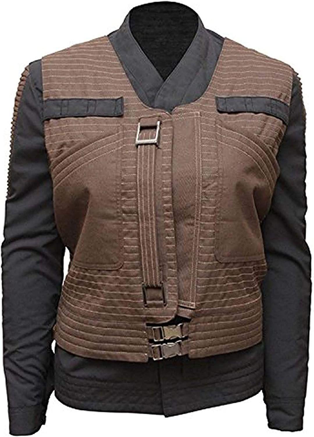Zibco Fashion Rogue One Jyn Erso Star Wars Brown Cotton Women Biker Jacket with Vest