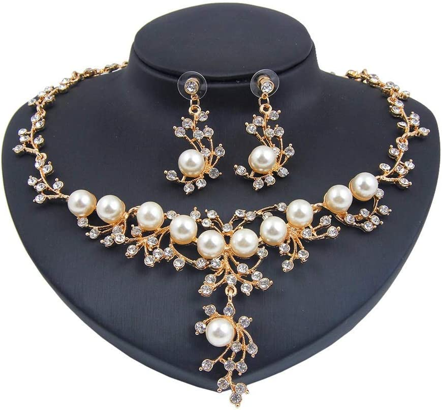 Urns Ashes Funeral Women's Jewelry Set Women Neckle Earring Crystal Pearl Pendant Girl Party Wedding Jewellery Set Love Gift Neckle Earrings Set Wedding (Color : Gold, Size : Free size),Size:Free size