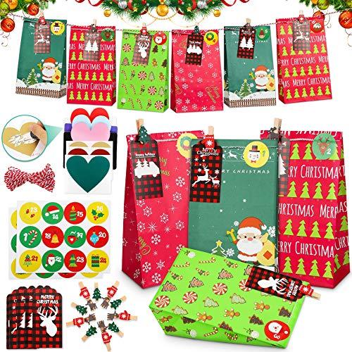 Popolic Sacs Cadeaux de Noël,24pcs Sac Cadeau Noel Kraft Pochette Cadeau Calendrier l'Avent pour Le Remplissage pour DIY DéCoration De NoëL Convient pour Mariage,Fête de Noël,Fêt d'anniversaire