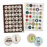 Logbuch-Verlag 2 x 35 pegatinas de cocina 3 cm - estilo rústico marrón beis y colorido con motivos de cocina - adornar un libro de recetas