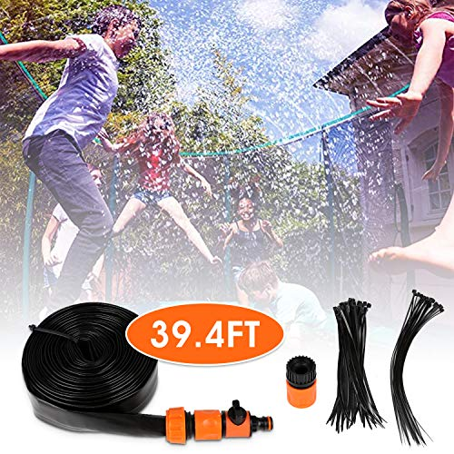 Trampoline Sprinkler Summer Outdoor Backyard Water Fun Spary Water Play Game Sprinklers for Kids Outdoor Spary Water Park Outdoor Misting Cooling System with Special Hole to Easy Installation 39FT