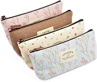 Bullidea Pencil Case 4 pcs Stationery Pouch Bag with Flower Print Pencil Case for Women Cosmetic Bag Purse Tool
