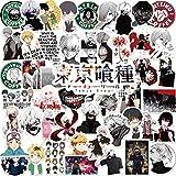 Lanseede 50 pièces Tokyo Ghoul Autocollants, Anime Tokyo Ghoul Autocollants pour Ordinateur Portable téléphone Bouteille d'eau Bagages Voiture Moto vélo, Bricolage décoration