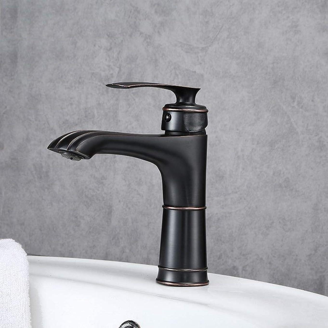 忌まわしいより平らな美徳HYH キッチン黒塗装洗面台蛇口洗面台洗面台蛇口浴室銅ボディホットとコールド蛇口 美しい人生