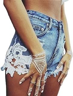 Weigou Women Summer Denim Shorts High Waist Lace Stitching Hot Denim Shorts Jeans Street Style Junior Shorts