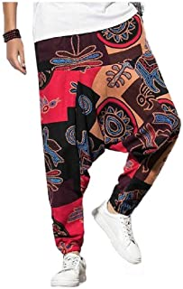CuteRose Men's Harem Chinese Style Floral Print Cotton Linen Palazzo Trousers