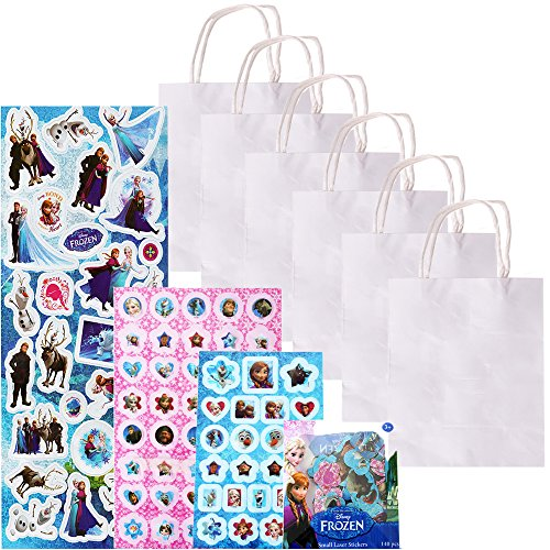 6 Stück TE-DecoArt Mitgebsel Tüten Geschenktaschen Basteln Papiertüten weiß 18x15x8cm Mädchen Bastelset 500 Frozen Die Eiskönigin Sticker Set