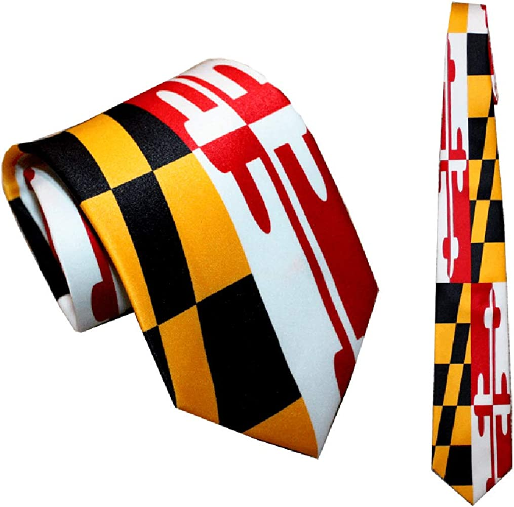 Route One Apparel | Maryland Flag Stretch Pattern Tie, For Men and Boys, Great for Formal and Business Events, Weddings