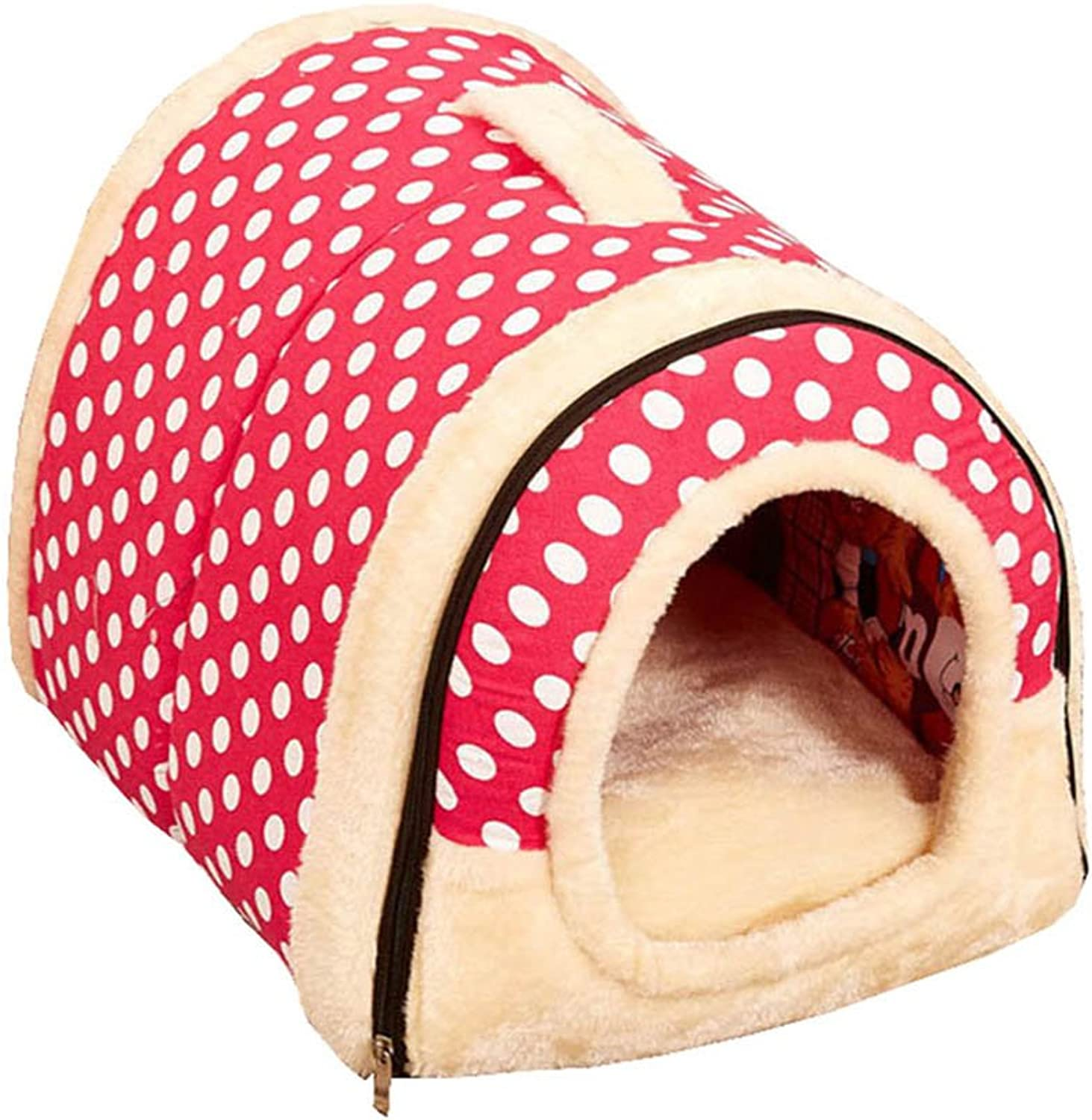 Dog House Kennel Nest with Mat Foldable with Removable Pet Dog Bed Cat Bed House for Small Medium Dogs Travel Pet Bed Bag,Pink,M