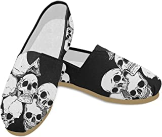 Fashion Sneakers Flats Cool Skull Women's Classic Slip-on Canvas Shoes Loafers