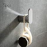 Thwarm 5pcs Acero Inoxidable Gancho del Traje Toalla montado en la Pared del Gancho Gancho de la suspensión de Puerta de WC/Cocina/baño hogar Ganchos de Pared Set Accesorios de baño