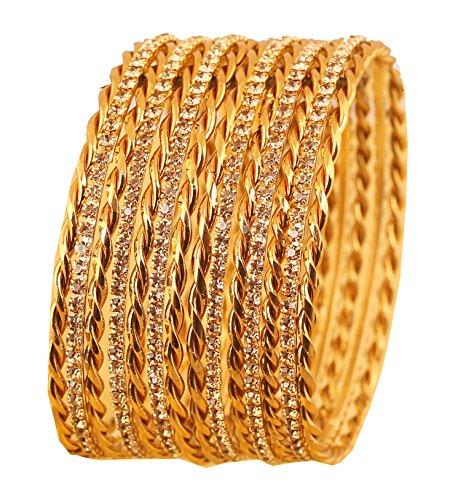 Touchstone Colección de brazaletes Bollywood Indio Tema bellamente Trenzado rines Amarillos Joyas de diseño Pulseras brazaletes para Mujer 2.25 Conjunto de 14 Oro