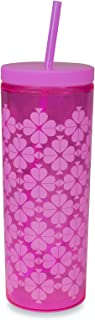 Kate Spade New York Insulated Tumbler with Reusable Straw, 20 Ounce Acrylic Travel Cup with Lid, Neon Pink