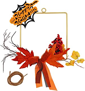 JUDYME Fall Wreath Twigs with Maple Leaf Berries Ribbon Garland Harvest Wreath,Metal Hoop Wreath for Front Door Halloween and Thanksgiving Home Wall Window Decor