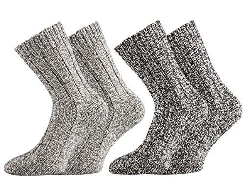 TippTexx 24 2 Paar superweiche Norweger-Socken für Damen und Herren (Grautöne, 39/42)