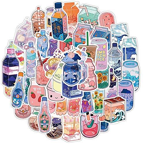 PMSMT 50 Piezas Lindas Pegatinas de Bebidas para Cuadernos papelería Scrapbooking Material Rosa Pegatinas estéticas artículos artesanales