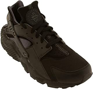 NIKE Mens Air Huarache Run PRM Black/Anthracite-Reflect Silver Leather Running, Cross Trainers