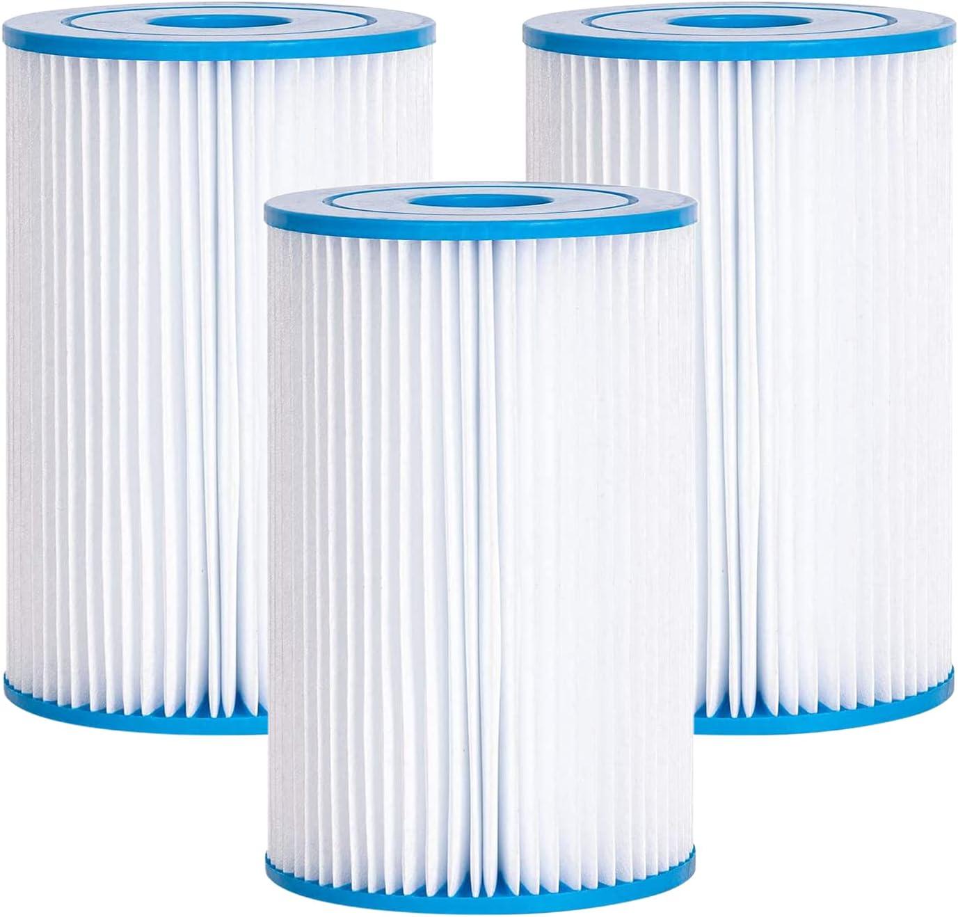 Cdemiy Cartuchos de Filtro, 3 Pcs Bestway Size II Cartucho para Filtros para Piscinas, Bomba de Filtro de Agua de Circulación de Piscina Inflable, para Limpieza de Piscina de Tubo