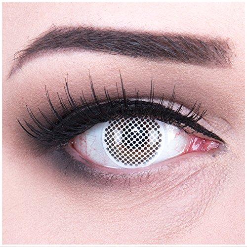 Farbige weisse weiße white screen crazy Kontaktlinsen crazy contact lenses zombie White Screen/weiße Augen 1 Paar perfekt zu Fasching und Halloween (2 Stück) incl. gratisLinsenbehälter! ohne Stärke!