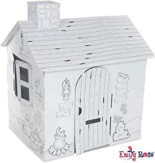 Emily Rose Incredible Dollhouse or Kid's Play House | Ready to Paint and Decorate Playhouse for Kids | Great Party Activity! (Safari House)