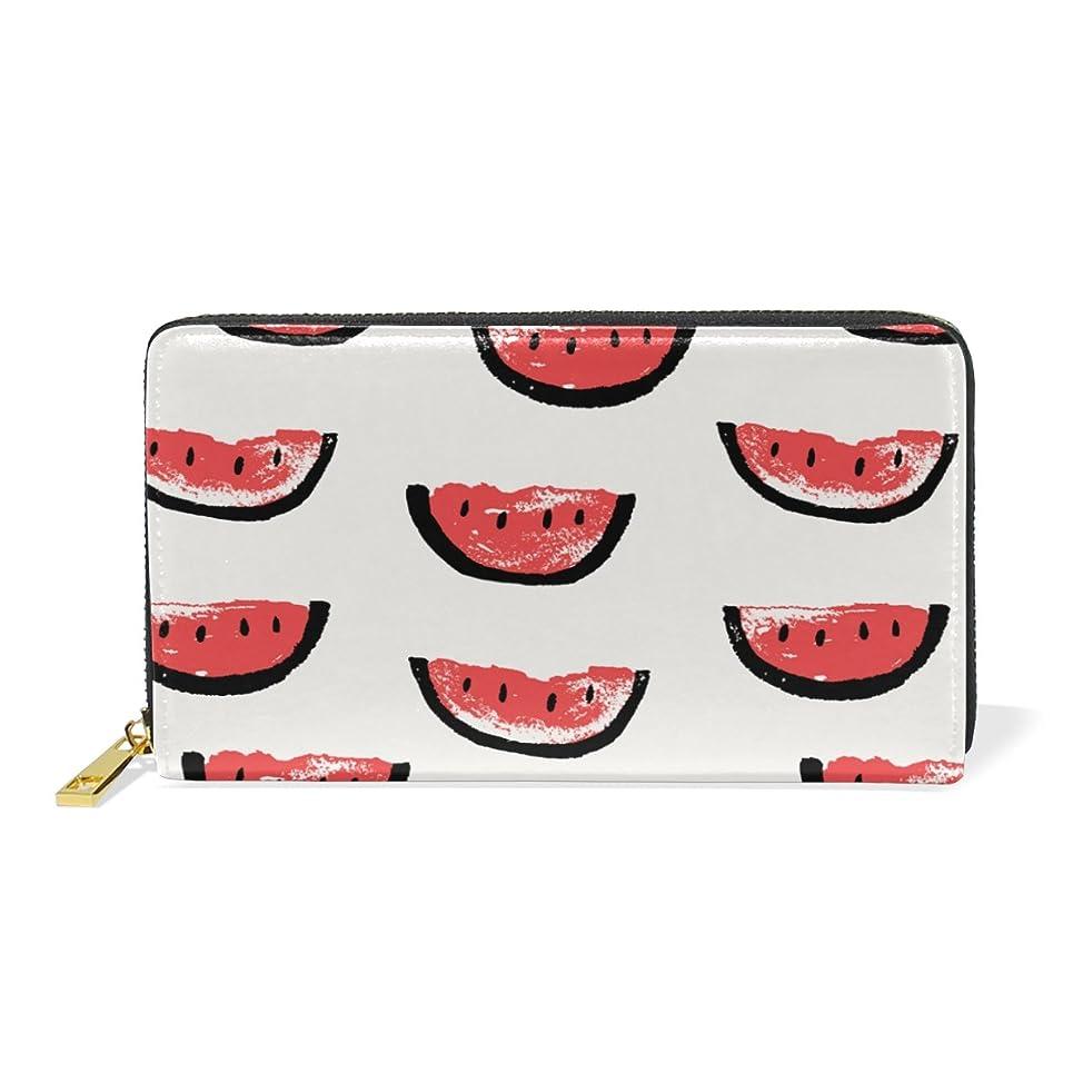 役に立つ写真続編AyuStyle 財布 長財布 レディース メンズ 人気 可愛い 果物 スイカ 二つ折り財布 PUレザー 大容量 高品質 ラウンドファスナー ウォレット