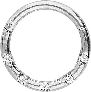 1,2mm Septum Clicker Herz Form Kristalle Tropfen Segment Ring Scharnier Silber
