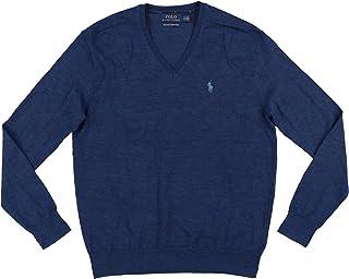 New $110 Dark Blue WASHABALE Merino Wool V-Neck Sweater