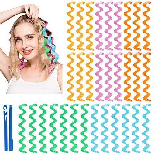 Lockenwickler - 30 Stück Haar Lockenwickler Styling Kit Ohne Hitze Magic Lockenwickler Rollen über Nacht Mit Styling-Haken für Damen langes Haar (45CM)
