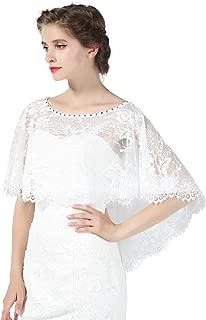 Wedding Cape Lace Bridal Capelet Bolero Cover Up Lace Shawl 1920S Women Shrug Wrap Off White Plus Size More Styles