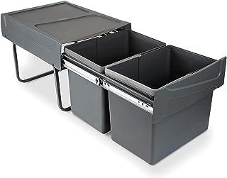 Emuca - Poubelles avec Fixation inférieure pour la Cuisine, 2 poubelles de Recyclage Amovibles de 15 L, capacité Totale 30...