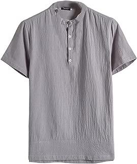Men Classic Floral Button Shirt Tops Tang Short Sleeve Linen Blouse