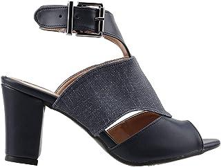 Ayakland 811-1173 Günlük 7 Cm Topuk Bayan Kot Sandalet Ayakkabı LACİVERT