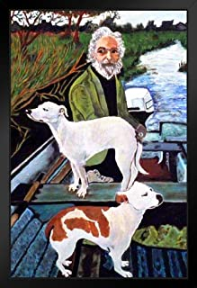 Sponsored Ad - Man in Boat with Dogs Movie Painting Black Wood Framed Art Poster 14x20