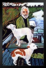 Man in Boat with Dogs Movie Painting Framed Poster 14x20 inch