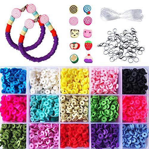 MKISHINE - Set di perline Heishi per bricolage, con attacchi e fili, perline intercalari in argilla polimerica, colori assortiti, per realizzare collane e braccialetti fai da te