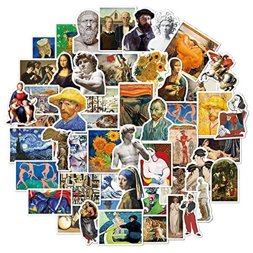 DSSK 50 Uds la Pintura de Van Gogh Mona Lisa Pegatinas de PVC Impermeables Maleta Scrapbooking Laptop Skateboard Pegatina Juguetes para niños