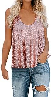 Highpot Womens Glitter Sequin Tank Top Flowy Hem Sleeveless Shimmer Tops Camisole