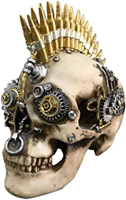 Hi-fi Head Gothic Steampunk Skull Wearing Headphones Statue