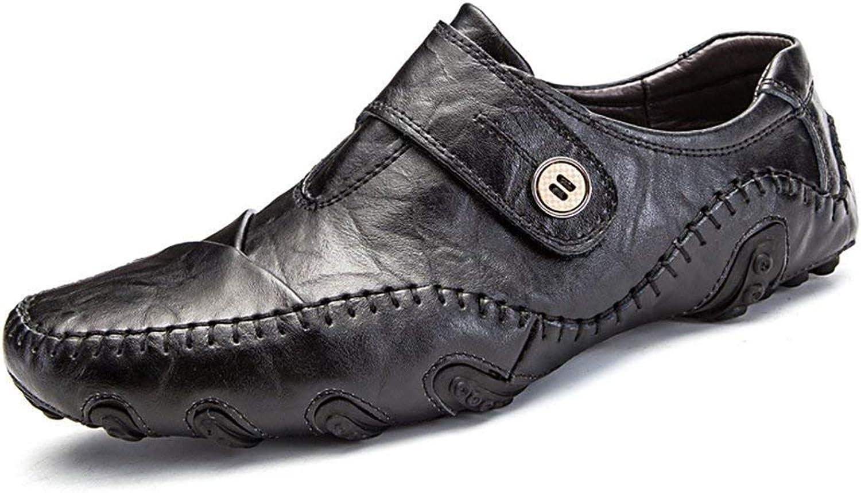 ZHRUI Men Sneaker Casual shoes Leather Flat Loafers Slip On Footwear Male shoes (color   8891 Black, Size   7=41 EU)