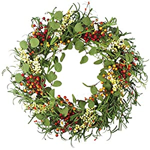 Deliacft Door Wreath,18″ Rose and Flowers Fall Wreath,Beautiful Artificial Spring and Summer Wreath Front Door or Home Decoration