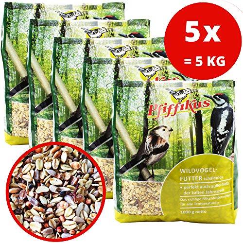 5er Pack schalenloses Wildvogelfutter zur Ganzjahresfütterung 5 x 1 KG - Vogelfutter für Vogelfutterhaus, Vogelfutterspender oder zum Streuen im Sommer und Winter - 100% natürlich u. ohne Zusatzstoffe