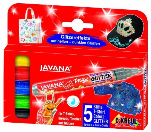 Kreul 92650 - Javana Texi Mäx Glitter Stoffmalstifte für helle und dunkle Stoffe, waschecht nach Fixierung, mit Rundspitze ca. 2 - 4 mm, 5 Stifte in gelb, rot, blau, grün und schwarz