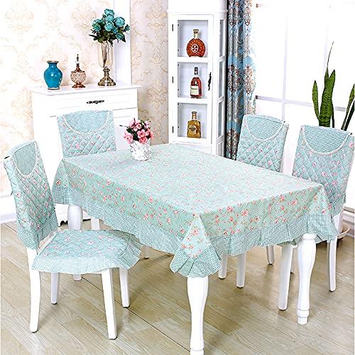 CAMILYIN Juego de funda para silla de pastoral con 6 cómodos cojines de asiento, fundas de mesa de comedor, diseño floral, color verde