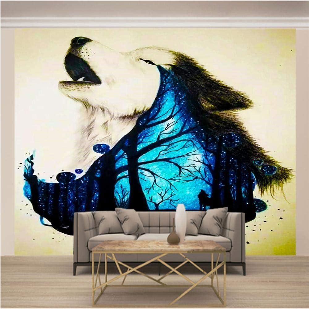 SUUKLI Wall Colorado Springs Mall Mural – 3D Animal Wallpaper Wolf Long-awaited Pattern Print