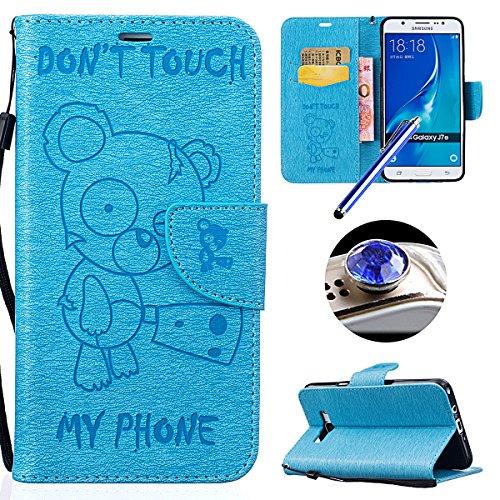 [Samsung Galaxy J7(2016)] Cuir Flip Coque,Samsung Galaxy J7(2016) Housse de Téléphone en Cuir, Etsue Retro Panda Motif Portefeuille en Cuir Folio Couverture de Case par Fermeture Magnétiqueet avec Carte de Visite Dossier Fonction pour Samsung Galaxy J7(2016) + 1x Cordon + 1 x Bleu stylet + 1 x Bling poussière plug (couleurs aléatoires)-Panda Bleu Clair