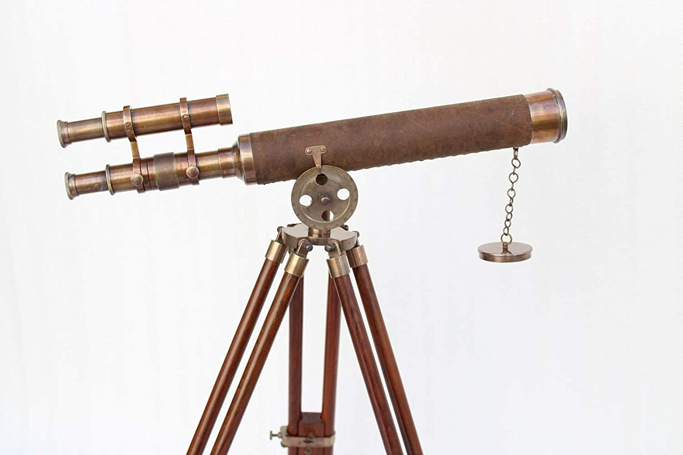 US HANDICRAFTS Vintage Nautical Antique Style Double Barrel Telescope in Brown Antique Pure Leather 18 INCH with Wooden Brown Tripod.
